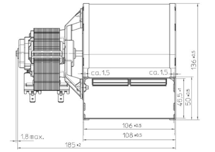 Ve 02 ventilatore centrifugo per stufe a pellet for Tarature tecnico extraflame